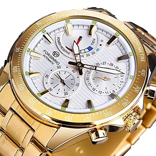 Excellent Reloj automático de Hombres con dial multifunción Impermeable dial Luminoso de Moda Ocio Reloj mecánico automático,A05
