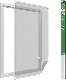 easy life Mosquitera para ventanas con cuadro magnético en PVC fácil de instalar - Sin necesidad de perforar y acortable individualmente, Color:Blanco, Talla:120 x 140 cm