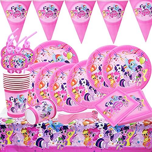 Juego de Suministros de Fiesta de Unicornio para niños, Accesorio de Decoración Fiesta de Cumpleaños con Platos Servilletas Pancarta Vasos y Mantel Resistente para 10 Invitados