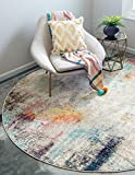 Unique Loom Chromatic Collection Modern Abstract Colorful Beige Round Rug (8' 0 x 8' 0)