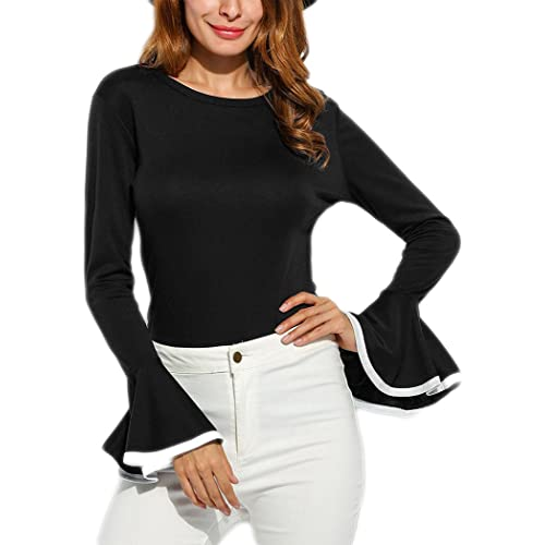 aa187d5b6bc Women s Long Bell Sleeve Blouse Loose Trumpet T-Shirt Casual Solid Flare  Tops