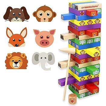 木製 60 PCS バランスゲーム クラシック 積み木 パーティー テーブルゲーム GYBBER&MUMU 大人と子供も楽しめ カラフル タンブル タワー 積み重ね 動物認識 ドミノ Domino (カラフル_60Pcs)