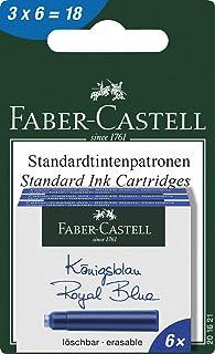 FABER-CASTELL INK CATRIDGE BLISTER OF 18PC BLUE,erasable ink cartridge