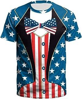 TOPUNDER New USA Flag T-Shirt Men Sexy 3D T-Shirt Print Striped T Shirt Summer Tops Tees