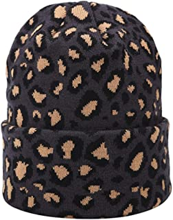 Ridkodg 2020 Beanies Women Slouchy Skully Hat Leopard Printed Knitted Warm Soft Hats