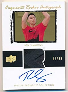 BIGBOYD SPORTS CARDS Ben Simmons 2017/18 UD Exquisite RC Rookie Autograph Jersey Patch AUTO SP #62/99