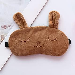 Hot Sale!DEESEE(TM)🌸🌸Kawaii Adjustable Plush Cute Sleeping Rabbit Eye Mask Ice Bag Eye Cover (Brown)