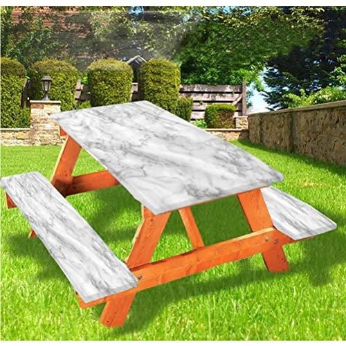 Mantel de mesa y banco de picnic de mármol, mantel de granito con borde elástico, 28 x 72 pulgadas, juego de 3 piezas para camping, comedor, exterior, parque, patio