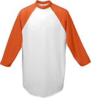 Augusta Sportswear Youth Raglan Sleeve Baseball Jersey, White Orange, Small