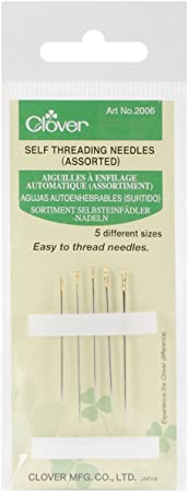 Self threading needles in five different sizes for thin to thick fabric. Clover Self Threading Needles Assorted