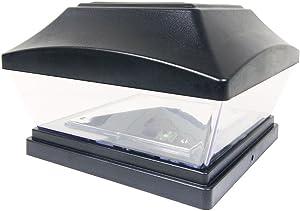 iGlow 1 Pack Black Outdoor Garden 6 x 6 Solar SMD LED Post Deck Cap Square Fence Light Landscape PVC Vinyl Wood Bronze