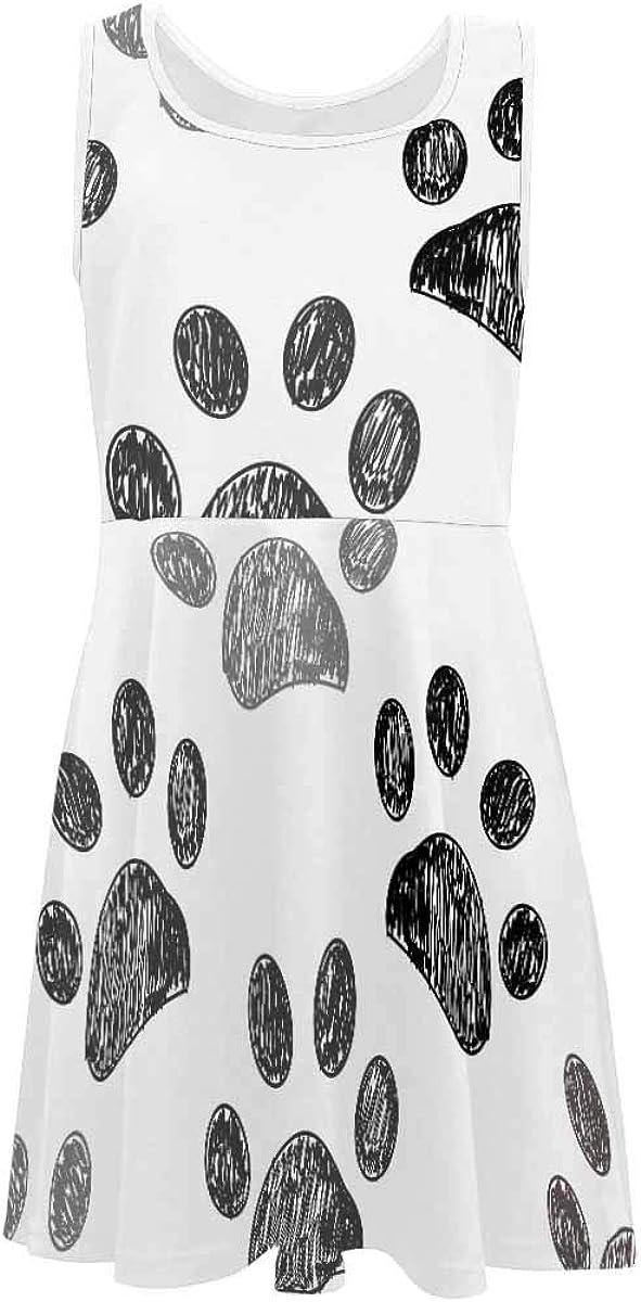 InterestPrint Girls Sleeveless Dress Kids Party Casual Dresses Pattern with Wild Flowers (2T-XL)