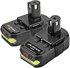 Fhybat 2Pack 3.0Ah 18V Replacement Battery for Ryobi 18V Lithium Battery P102 P103 P105 P107 P108 P109 P122 Ryobi ONE+ Cordless Tool
