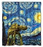 Necky Jennifer Colorful Design Starry Night Wasserdicht Schimmelresistent Stoff Duschvorhang 12Loch Badezimmer Decor 66x72Inch Color02
