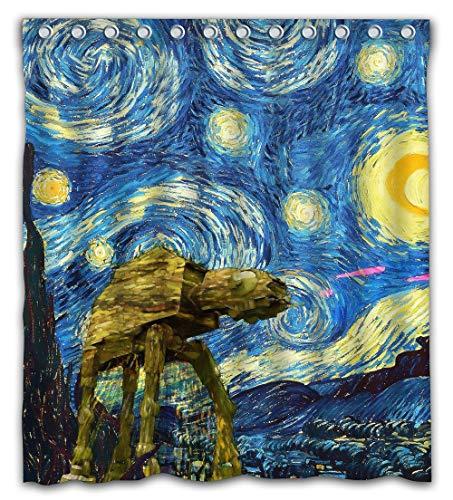 Gouriru Custom Wars Design Starry Night Shower Curtain Waterproof Fabric for Bathroom Decor Size 66x72 Inches
