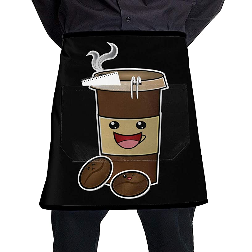Cooking Apron, Kitchen Aprons With Pocket, Cute Coffee Waist Chef Half Short Aprons, For Home Server Waiter