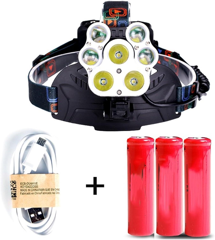 GLJJQMY LED-Scheinwerfer wiederaufladbare super helle Kopf-montiert wasserdicht große Kapazität Suchscheinwerfer Taschenlampe B07LBS4Z88 | Sonderkauf