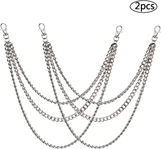 BESTZY Pants Chain,Wallet Chain 2 Pcs Pocket Chain Silver Trousers Chain for Costume Hat Decoration Outdoor Accessories