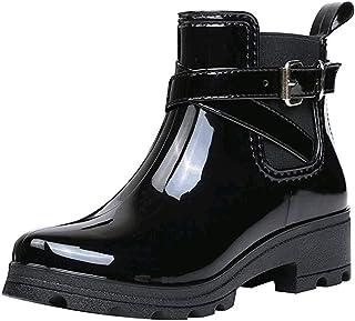 حذاء برقبة حريمي بإبزيم صلب مانع للانزلاق، حذاء نسائي قصير بكعب مربع قصير ومتين، حذاء مطر للماء حتى الكاحل