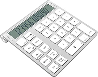 Teclado numérico inalámbrico Bluetooth y calculadora 2 en 1 Aluminio con múltiples accesos directos Teclado numérico de 28...