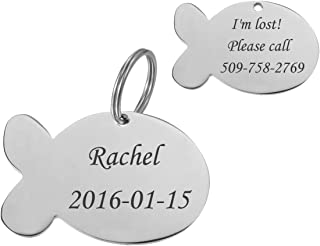 VALYRIA Personalized Stainless Steel Fish Shape Pet Id Tags - Silver