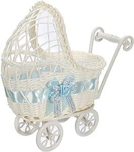 MOMOXY Pram Wicker Basket Hamper Storage with Handles Wheels  Blue