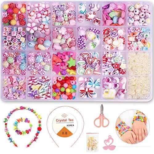 FUNVCE 1200 Stück Perlen zum Auffädeln, Armbänder Selber Machen Kinder, DIY Schmuck Basteln Mädchen Kreativ Set für Bracelet Schmuckbasteln Making,Kids' Craft Geburtstagsgeschenk, 24 Farben