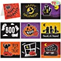 72 Pcs Halloween Holiday Fun Spooky and Spectacular Unique Festive Greeting Cards Collection (9 Designs) for Halloween Themed Party, Classroom Party, and Trick or Treat Invitations