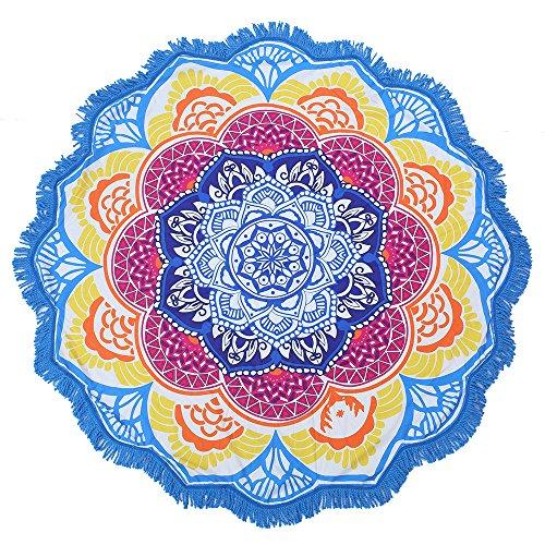 Diversión en el Sol Toalla De Playa、Multiusos, alfombras, manteles Diámetro 150cm (Mandala Azul)