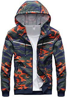 Men's clothing, spring and autumn sports camouflage cardigan hooded sweatshirt, men's loose long-sleeved cardigan sweater