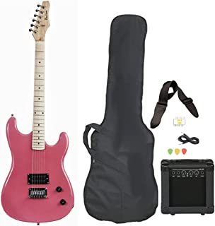 Davison Guitars Full Size Black Electric Guitar with Amp, Case and Accessories Pack Beginner Starter Package Pink Right Handed
