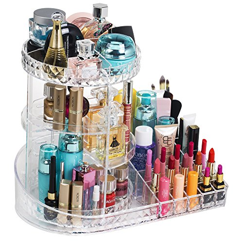 Readaeer 360 Degree Rotating Adjustable Makeup Organizer Cosmetics Lipsticks Perfumes Storage Tray Box (Clear)