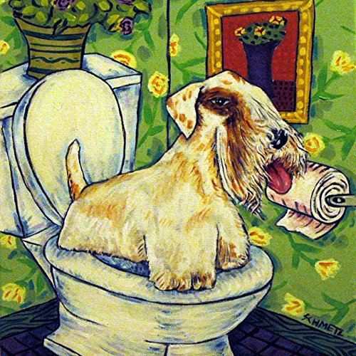 Sealyham Terrier in the Bathroom Decor dog art tile coaster gift