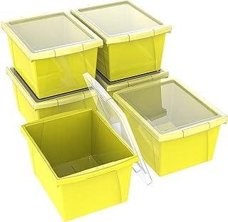 Storex Small Storage Bins with Lids, 13.625 x 11.25 x 7.87 Inches, Yellow, Case of 6 (61410U06C)