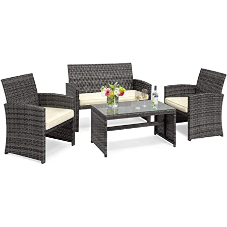 Rattan Patio Conversation Set Patio Chair for Garden Love Seat in beige Wicker Patio Loveseat Sofa with Cushions and Tempered Glass Table Patio Chair Outdoor Furniture Set Backyard and Balcony