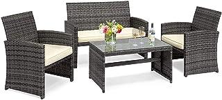 Goplus 4-Piece Rattan Patio Furniture Set Garden Lawn...