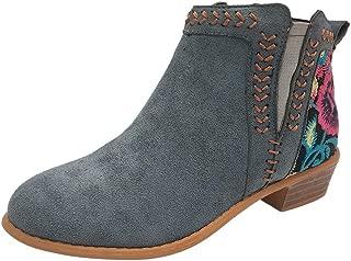 HebeTop Women's Rome Embroidery Short Cowboy Boot Med Heels Short Boots