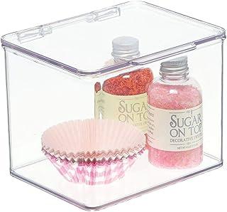 mDesign boîte de rangement à couvercle – boîte alimentaire pour la cuisine en plastique sans BPA – boîte à couvercle pour ...