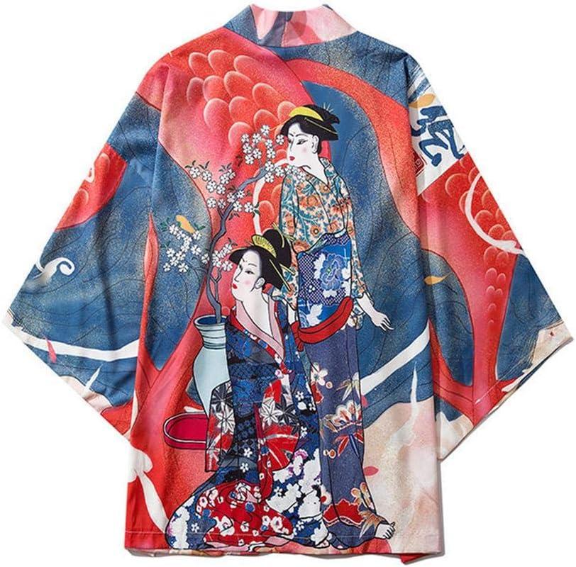 Yicaler Max 63% OFF Japanese Kimono Beauty Open Sleeves Three-Quarter Print Genuine