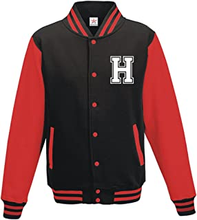 Star and Stripes Custom Initial Varsity Jacket, Personalised Varsity Jacket, Letterman College Jacket Black/Red 7/8 yrs