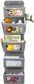 AOIEORD壁掛け収納式、5ポケット織物折りたたみ可能サスペンション収納ケース、透明な扉付きドア収納物、おもちゃ、財布、タオルに利用可能