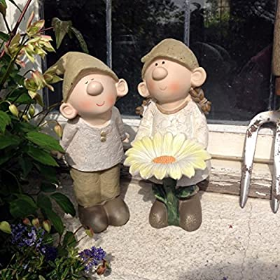 Bill and Beryl Elves standing Daisy, Garden Ornament, Gnome, Garden Fairy, Troll, Imp, Daisy