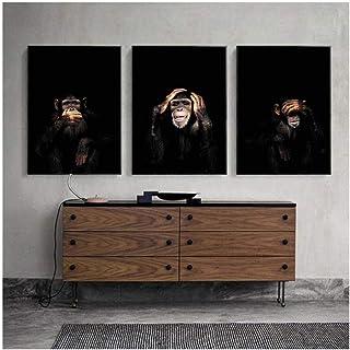 Cjyrjcc Three Monkeys Hear See Speak Poster Gorillas Painting On Canvas Wall Art Animal Art Pictures For Living Room Home ...