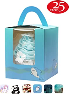 Yotruth Shark Cupcake Boxes For Boys Single Gift Containers Easy Assembly 25 Sets with Handle Window and Insert (Choice Series)
