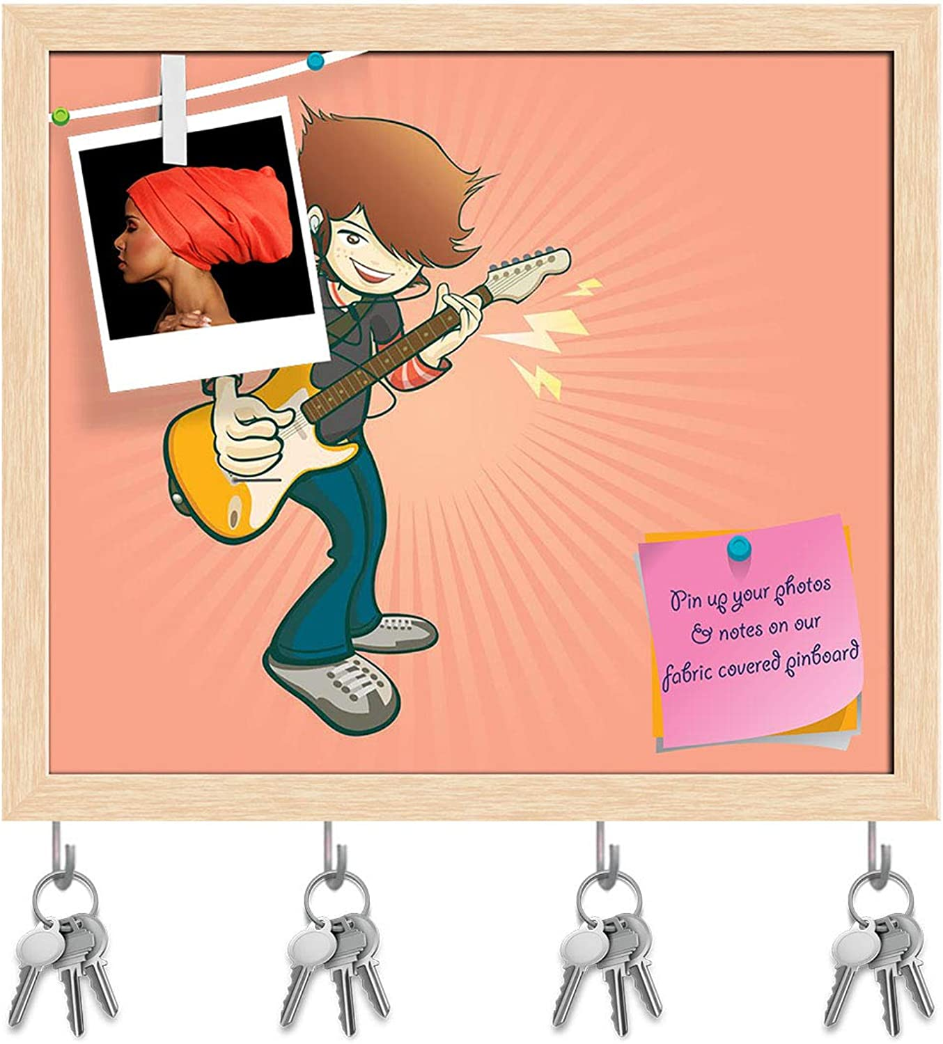 Artzfolio Rock Guitar Cartoon Style Music Key Holder Hooks   Notice Pin Board   Natural Brown Frame 18.5 X 16Inch
