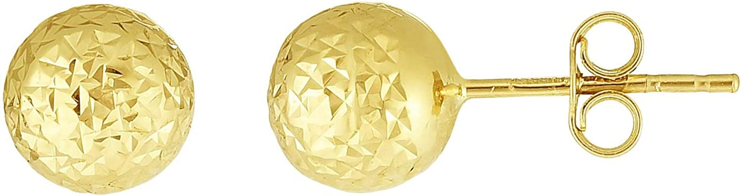 14K Gold Yellow 7mm Diamond Cut Ball Post Earring with Push Back Clasp