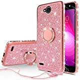 [GW USA] Glitter Cute Phone Case w/Kickstand Compatible for LG X Power 2 Case LG Fiesta,LG K10 Power,LG X Charge,LG Fiesta 2 Case Bling Diamond Bumper Ring Stand Sparkly Clear Girls Women (Rose Gold)