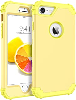 """BENTOBEN iPhone 8 Case, iPhone 7 Case, Heavy Duty Shockproof 3 in 1 Slim Hybrid Hard PC Soft Silicone Rubber Bumper Rugged Protective Phone Case Cover for iPhone 8 /iPhone 7 (4.7"""") Yellow/Lemon"""