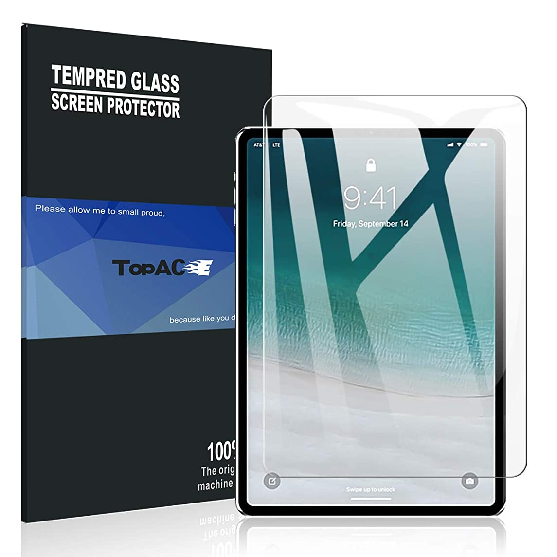 TopACE for iPad Pro 11 2018 Screen Protector,【Face ID Can Be Recognized】 9H Hardness [Anti-Scratch][Bubble Free] Tempered Glass Compatible for iPad Pro 11 inch 2018 Release (1 Pack)