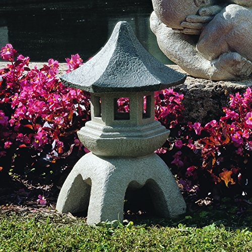 Design Toscano NG29870 Asian Decor Pagoda Lantern Outdoor Statue, Large 17 Inch, Polyresin, Two Tone Stone Finish